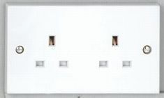 2 gang 13A Unswitched Socket - White