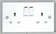 2 gang 13A Switched Socket - White