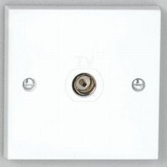 Single Flush Co-Axial Outlet - White