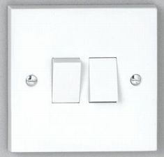 2 gang 2 way 10A Plate Switch - White