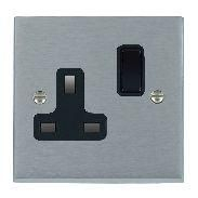 Satin Chrome 1 gang 13A Switched Socket
