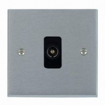 Satin Chrome 1 gang Isolated Television Socket