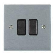 Satin Chrome 2 gang 2 Way 10AX Rocker Switch