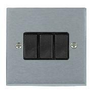 Satin Chrome 3 gang 2 Way 10AX Rocker Switch