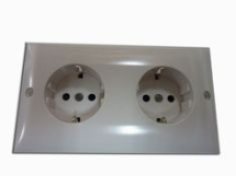 Double Euro Socket - White