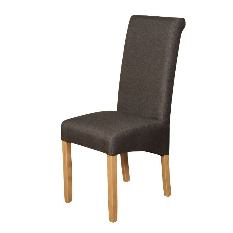 Royal Fabric Dining Chair in Charcoal With Oak Legs