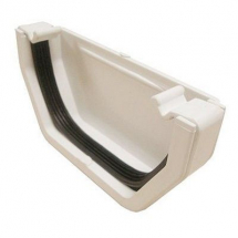 SQUARE LINE GUTTER END CAP - White