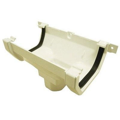 SQUARE LINE GUTTER OUTLET - WHITE