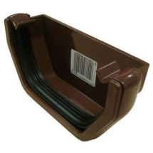 SQUARE LINE GUTTER END CAP - BROWN