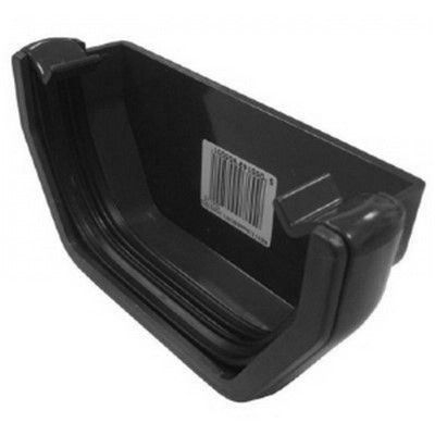SQUARE LINE GUTTER END CAP BLACK