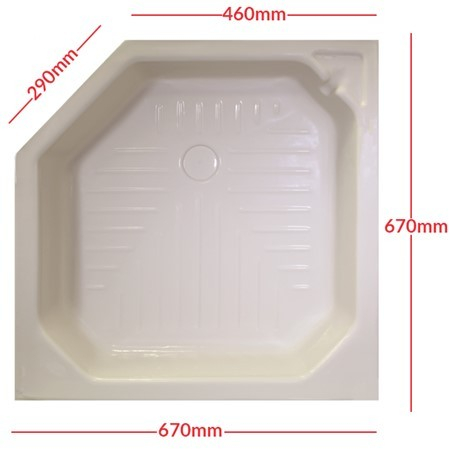 27inch X 27inch Angle Corner Shower Tray Skin in Soft Cream E0999A760