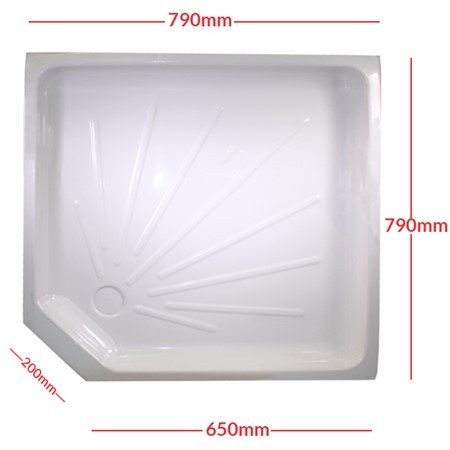 Shower skin white, with cut off corner, 800mm (PC002751E)