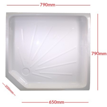 Shower skin white, with cut off corner, 800mm x 800mm x 660mm x 660mm (PC002751E)