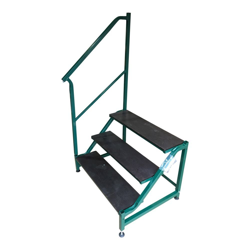 Free Standing 3 Tread Step & Handrail in Green