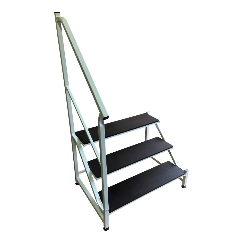 Free Standing 3 Tread Step & Handrail in White